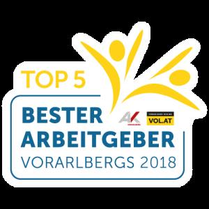 Bester Arbeitgeber Vorarlbergs 2018 - Top 5 - Beste Unternehmenskultur